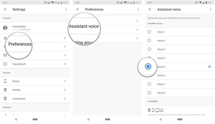 تغییر صدای دستیار از طریق اسپیکر گوگل هوم