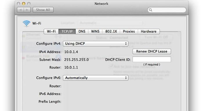 Wi-Fi مک بوک بررسی تنظیمات TCP/IP