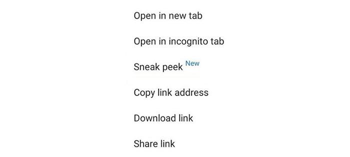 قابلیت های گوگل کروم ، قابلیت Sneak Peek