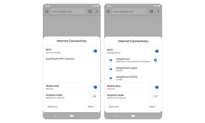 تنظیمات اتصال به اینترنت بسیار ساده تر از اندروید 9 است