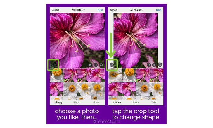 سایز مناسب عکس در پست، حالت مربعی
