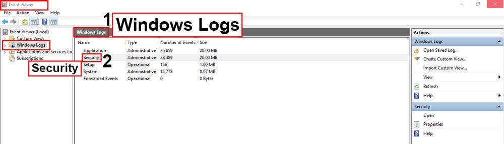 در Windows Log بخش های مختلفی وجود دارد و شما باید گزینه Security را انتخاب کنید.