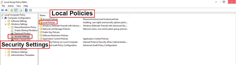 در بخش Windows Settings گزینه Security Settings را انتخاب کنید و وارد قسمت Local Policies شوید.