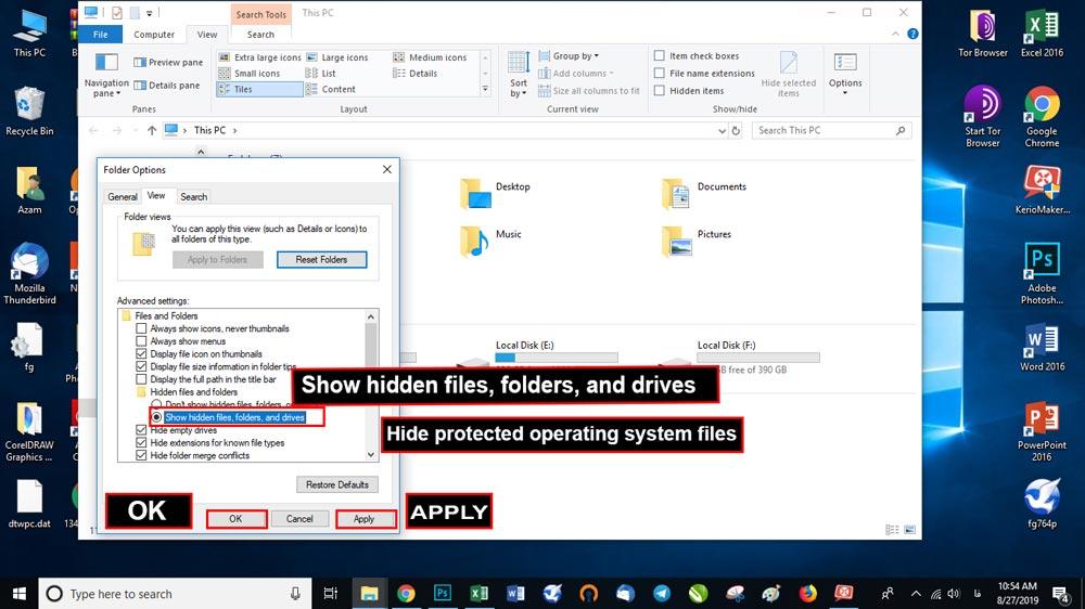 گزینه Show hidden files, folders, and drives را بزنید