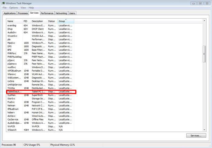 Tablet PC Input Service را غیر فعال کنید