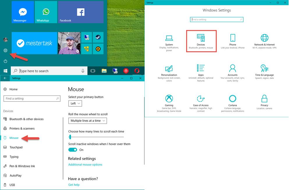 بخش تنظیمات موس در ویندوز 10