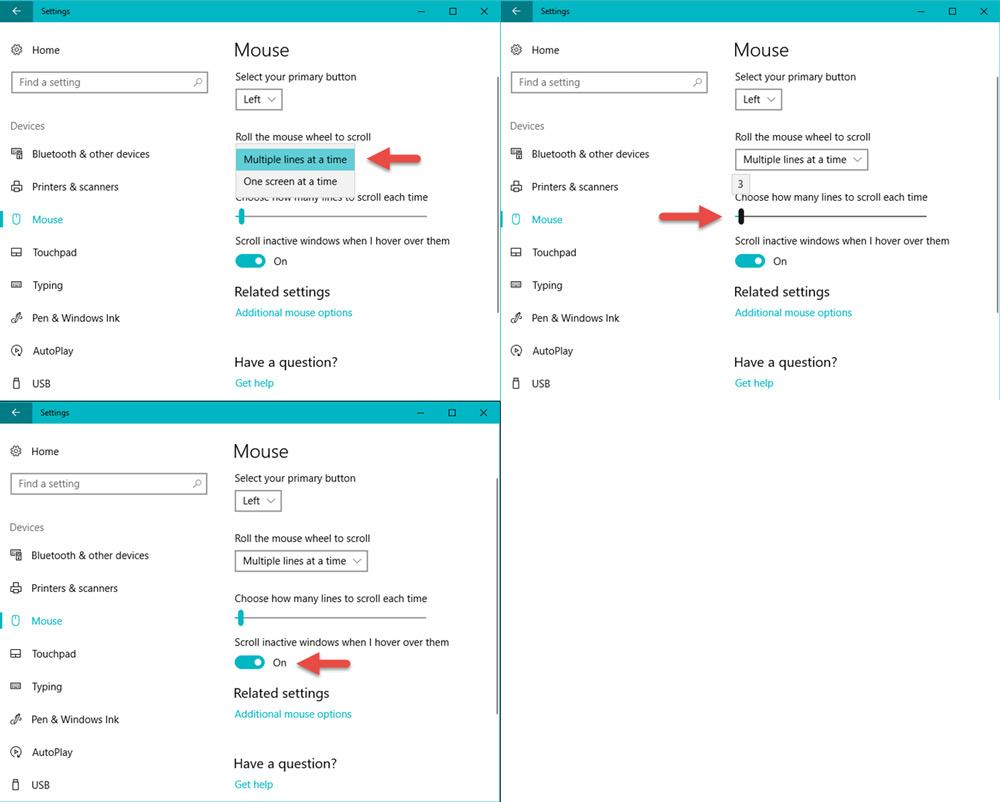 تنظیمات اسکرول کردن موس در ویندوز 10