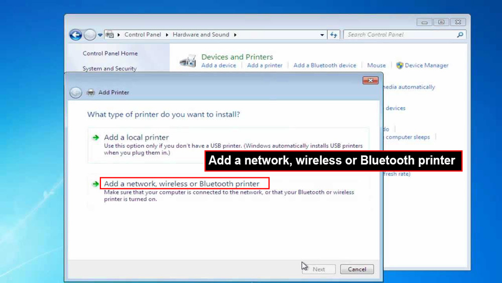 "گزینه "" Add a network, wireless or Bluetooth printer"" را انتخاب کنید"