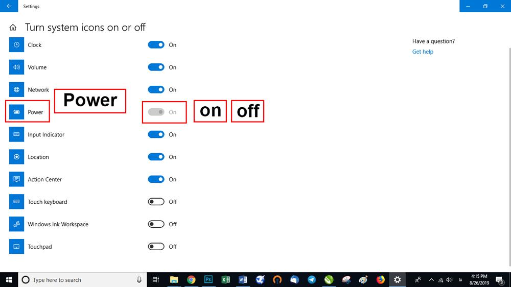 پنجره ای که در اختیار شما قرار می گیرد باید گزینه Power را انتخاب کنید