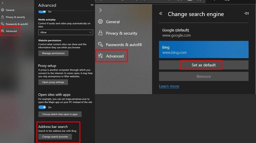 تغییر موتور جستجوی پیش فرض Microsoft Edge