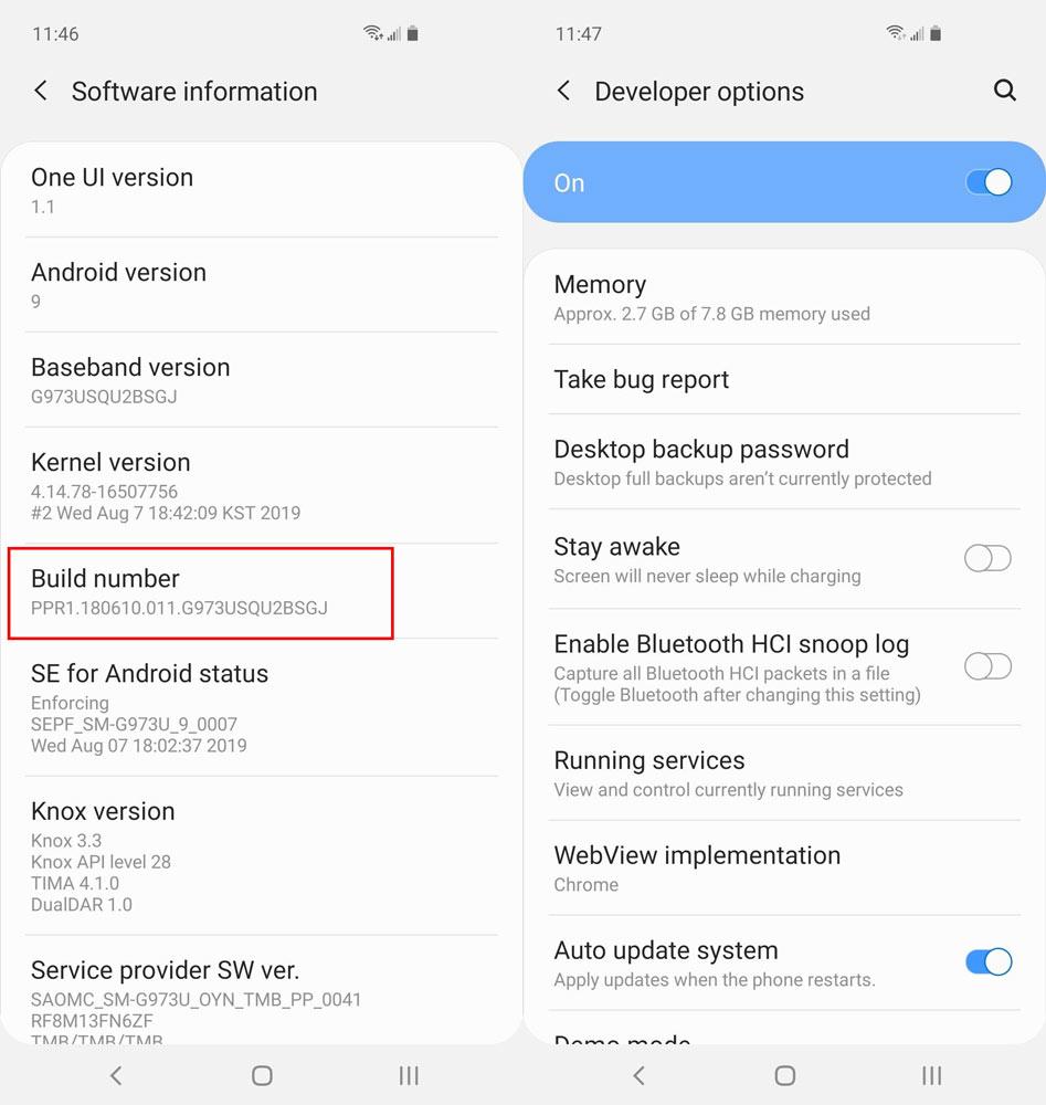 گزینه developer options را در منوی تنظیمات گوشی خود مشاهده کنید.