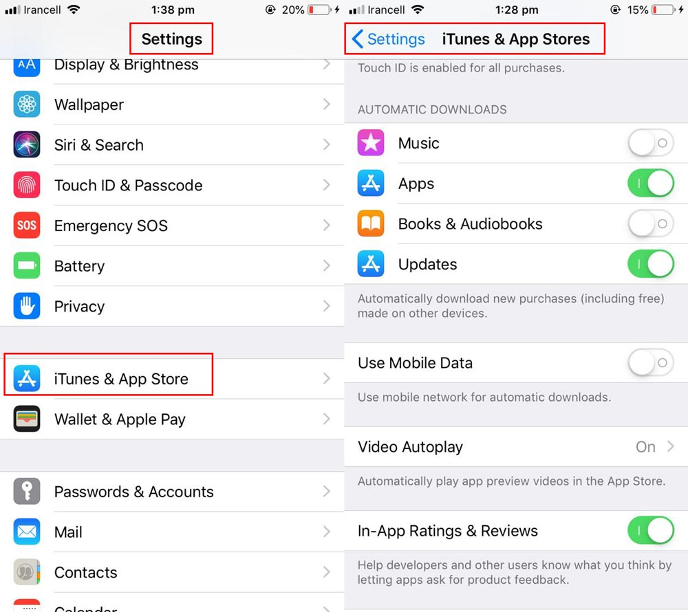 باید مسیر Settings > iTunes & App Store > App Downloads > Always Allow