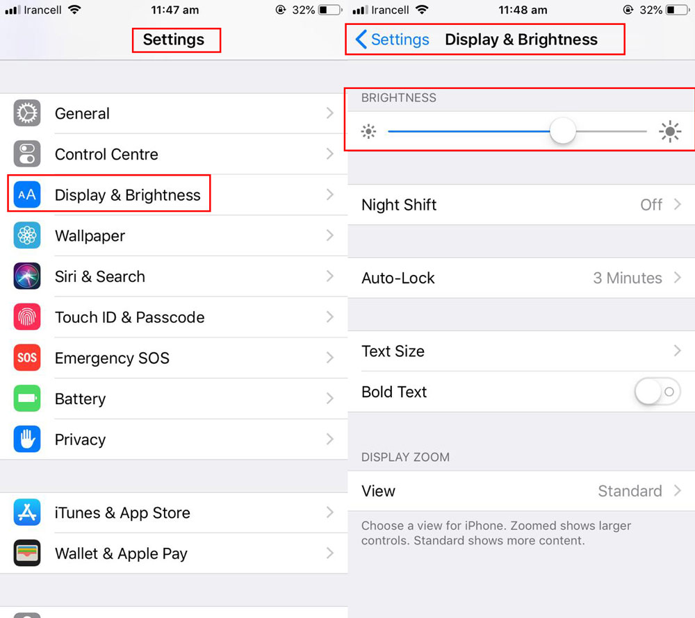 به بخش Settings > Display and Brightness > Schedule رفته