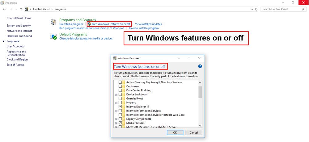 گزینه turn windows features on or off را انتخاب کنید
