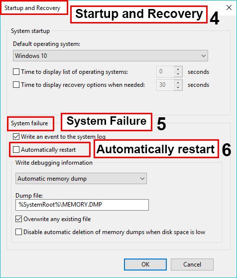 حال زیر بخش System Failure تیک Automatically restart را بردارید