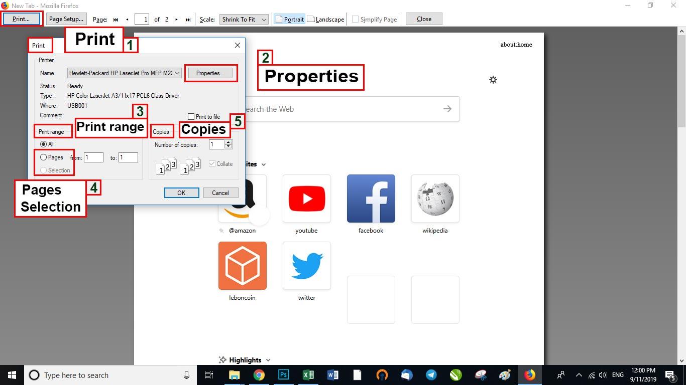 آموزش تنظیمات پرینتر در مرورگر فایرفاکس