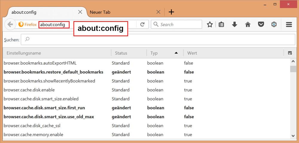 در بخش آدرس بار about:config را تایپ کنید.