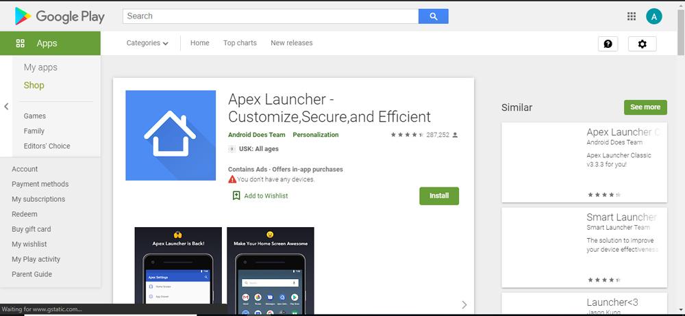 نرم افزار Apex Launcher