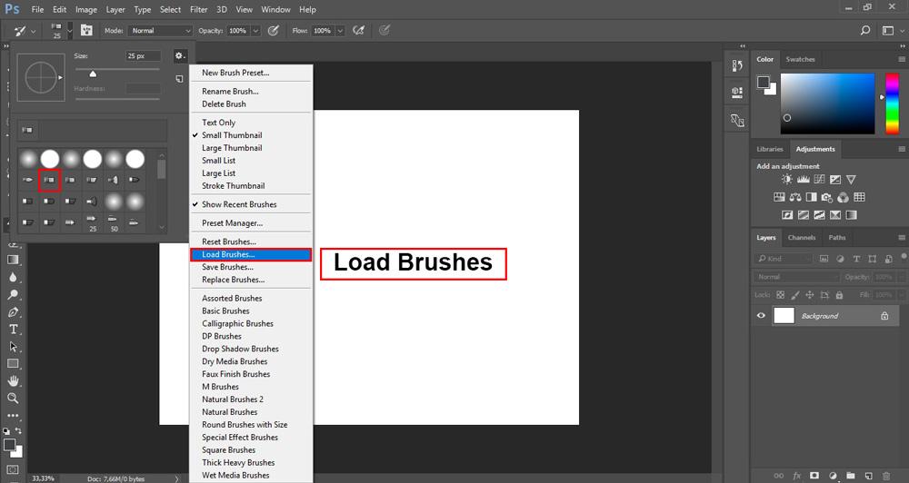 نماد چرخ دنده کلیک کنید و سپس گزینه Load Brushes را انتخاب کنید.