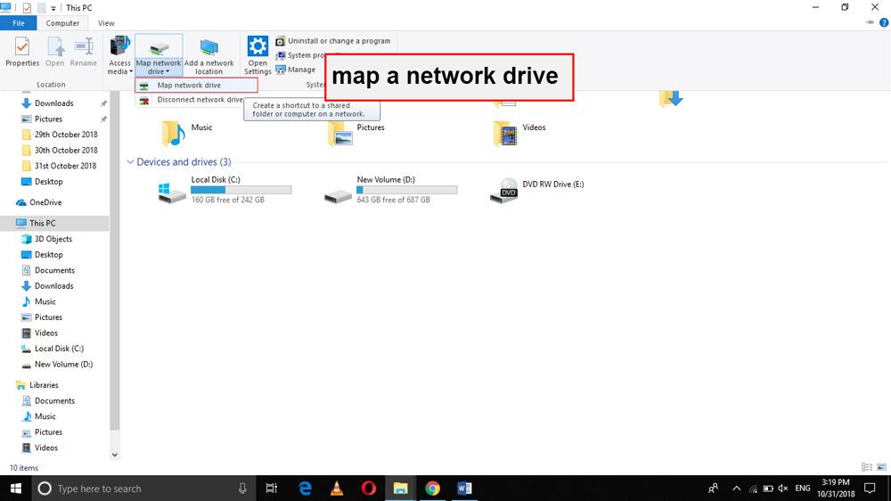 ایجاد map a network drive