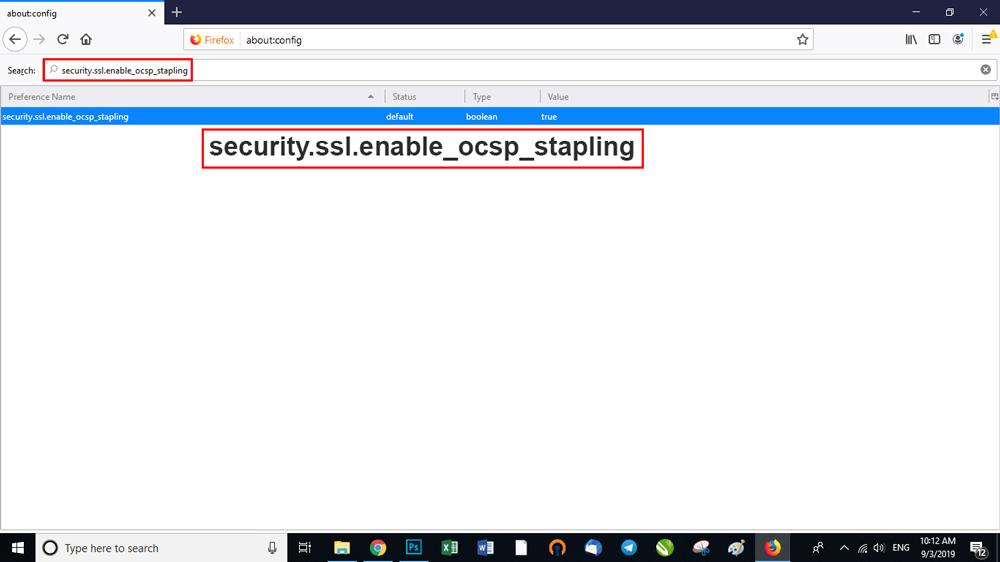 در بخش جستجوی تب اولی عبارت security.ssl.enable_ocsp_stapling را وارد کنید.