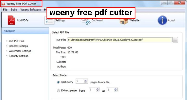 برنامه هایی مانند weeny free pdf cutter نیز می توانند مبادرت به این کار کنند.