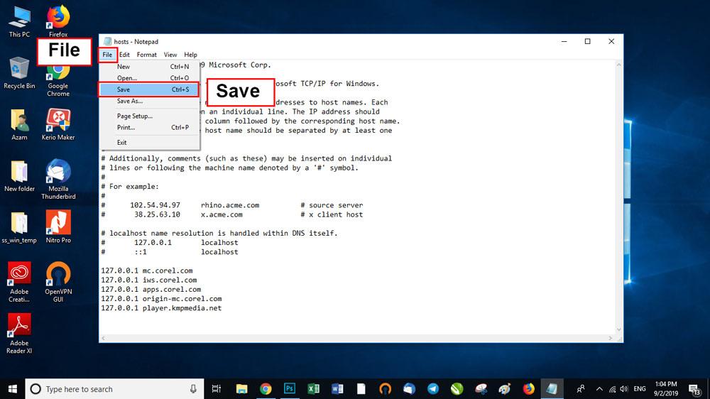 از منوی File روی Save کلیک کنید تا تغییرات ذخیره شود.