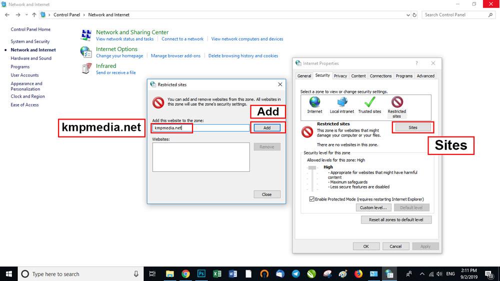 در این مرحله بر روی دکمه Sites کلیک کنید.