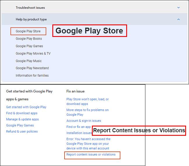 در زیر Fix an issue روی Report Content Issues or Violations. کلیک کنید