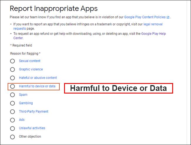 """گزینه """"Harmful to Device or Data"""" را انتخاب کنید."""