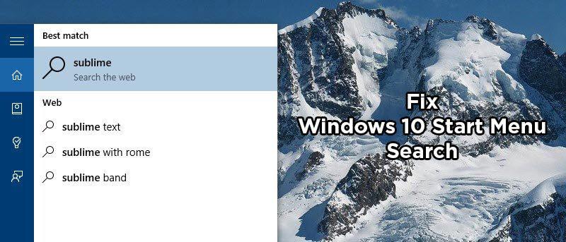 بخش جستجوی منوی استارت ویندوز 10