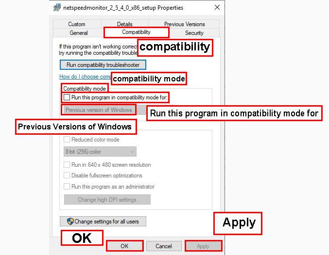 بر روی تب Compatibility کلیک کنید.