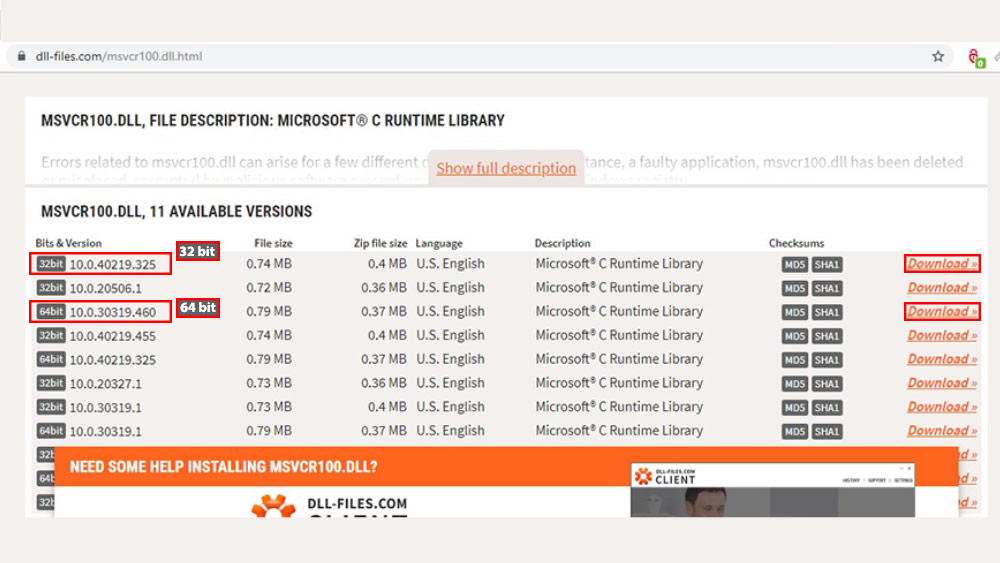 مشاهده خواهید کردید که لیست مربوط به فایلهای مد نظرتان در نسخههای 32 و 64 بیتی ارائه میشود.