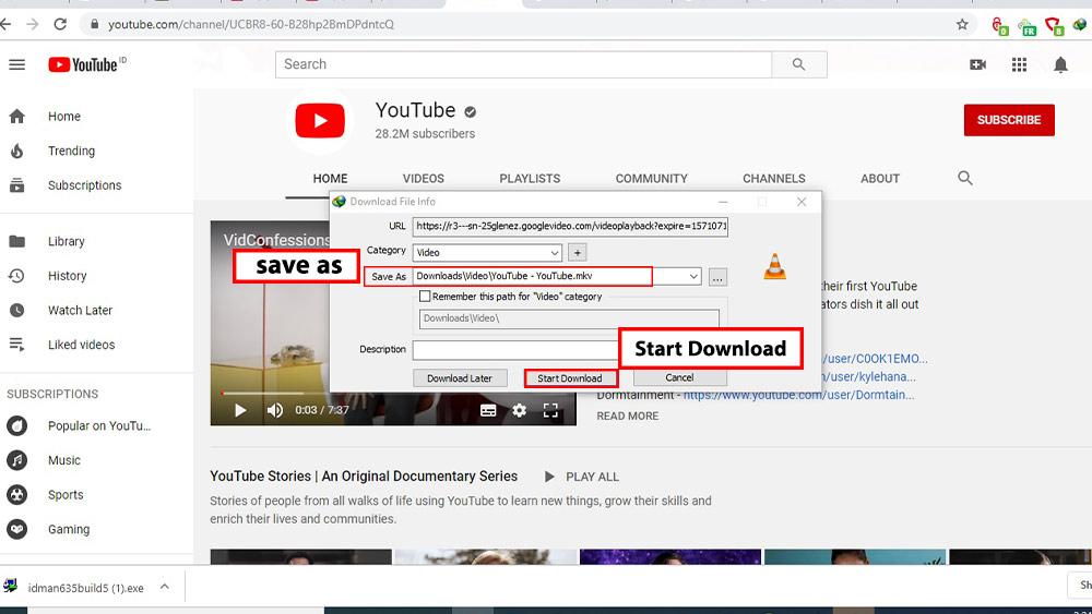 مسیر ذخیره شدن ویدئو و را انتخاب کرده و در نهات بر روی دکمه دانلود ویدیوی YouTube با IDM کلیک کنید