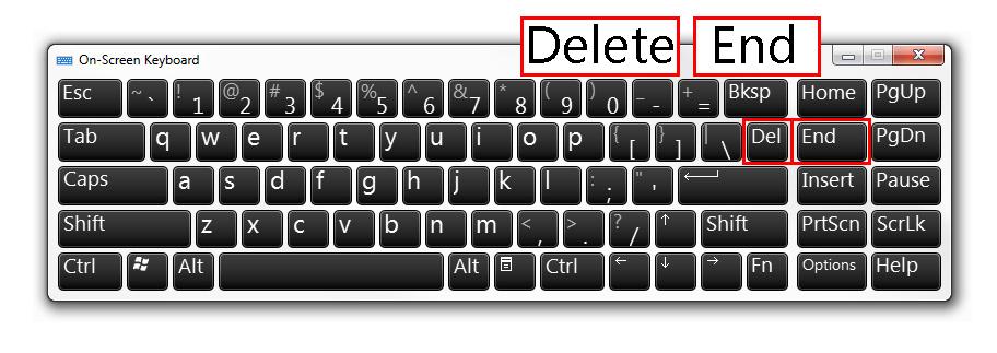 کیبورد دکمه end و سپس دکمه delete زده شود