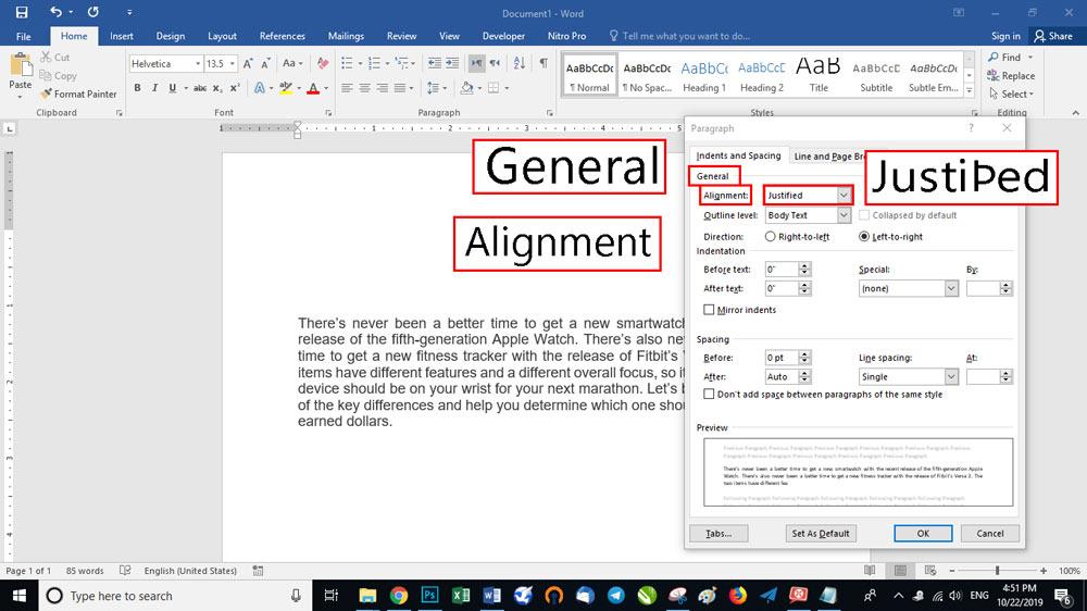 در بخش اول General گزینه ای به نام Alignment دیده می شود.