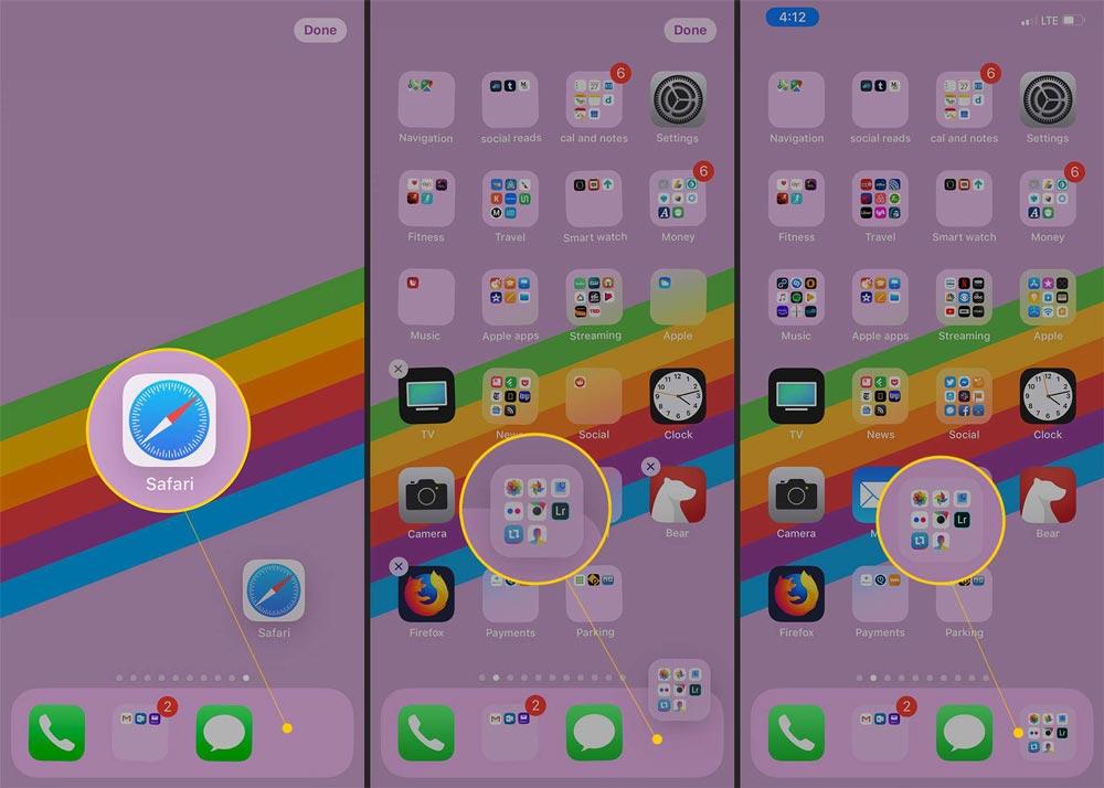 نحوه حذف برنامه ها از پوشه ها در iPhone