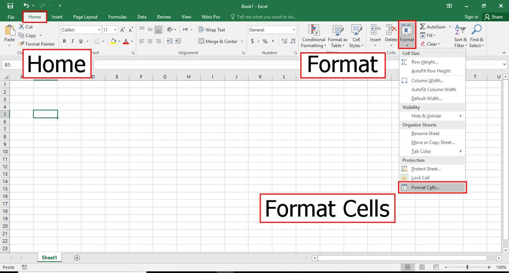 سپس در تب Home بر روی Format کلیک کنید و format cells را انتخاب کنید.