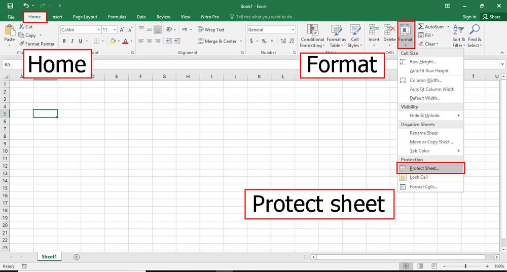 دوباره به سربرگ Home رفته و در format این بار گزینه Protect sheet را انتخاب کنید.