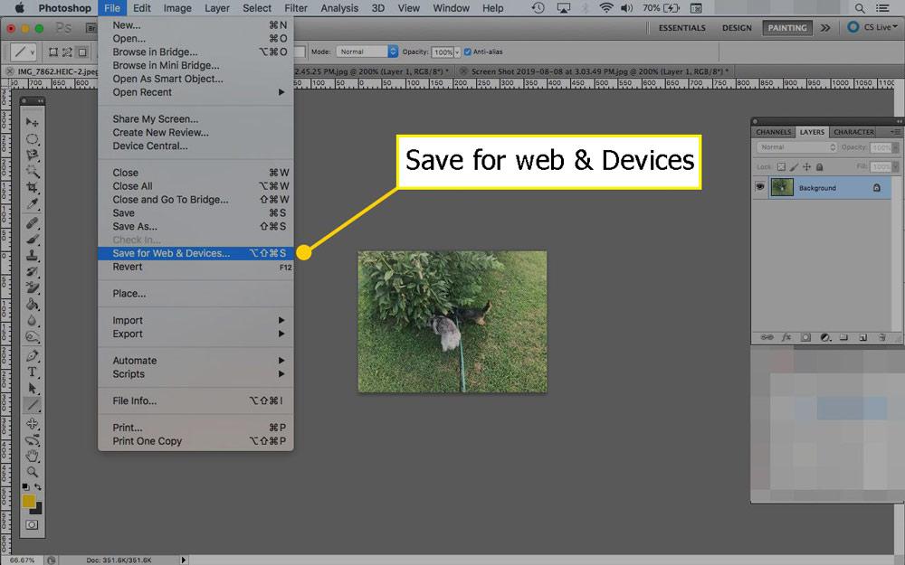 ذخیره سازی تصاویر برای وب