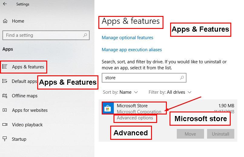 گزینه Apps را انتخاب کرده و وارد بخش Apps & Features شوید.