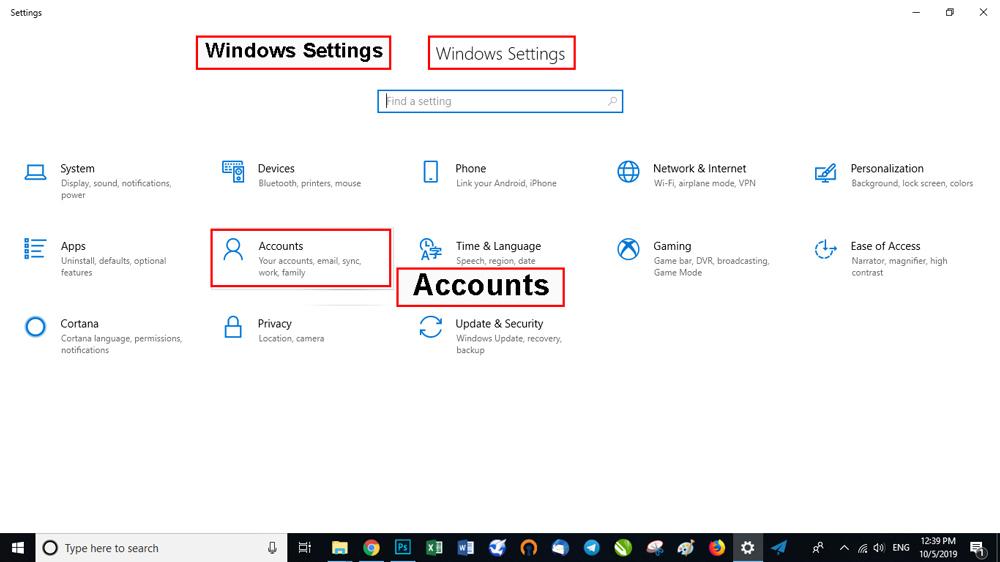 گزینه حسابها Accounts را انتخاب کنید