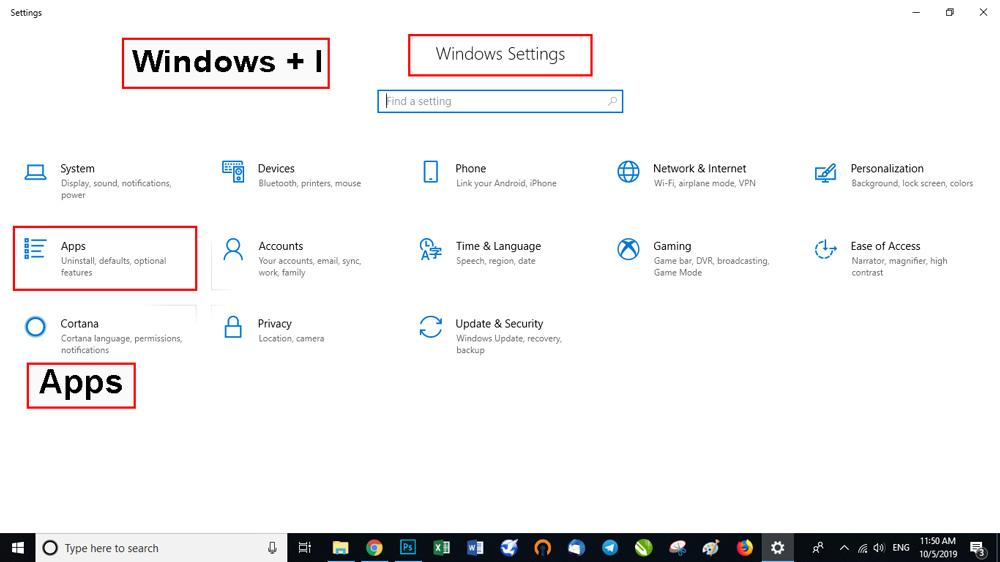 تنظیمات را با استفاده از میانبر صفحهکلید Windows + I باز کنید.