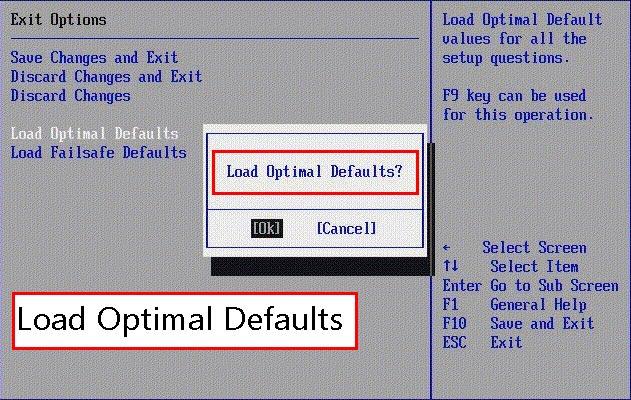 تنظیمات BIOS را به تنظیمات پیشفرض ریست کنید.