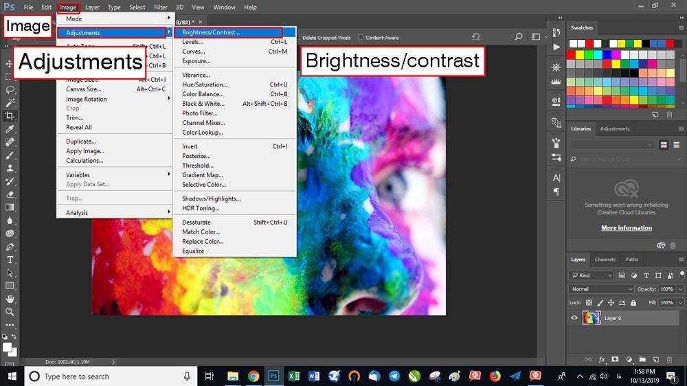 روی Adjustment بروید و از منوی باز شده گزینه Brightness / contrast را انتخاب کنید.