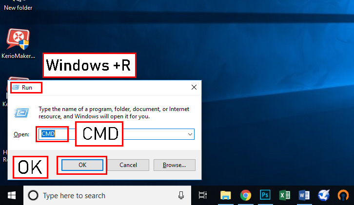 Win+R و تایپ CMD است