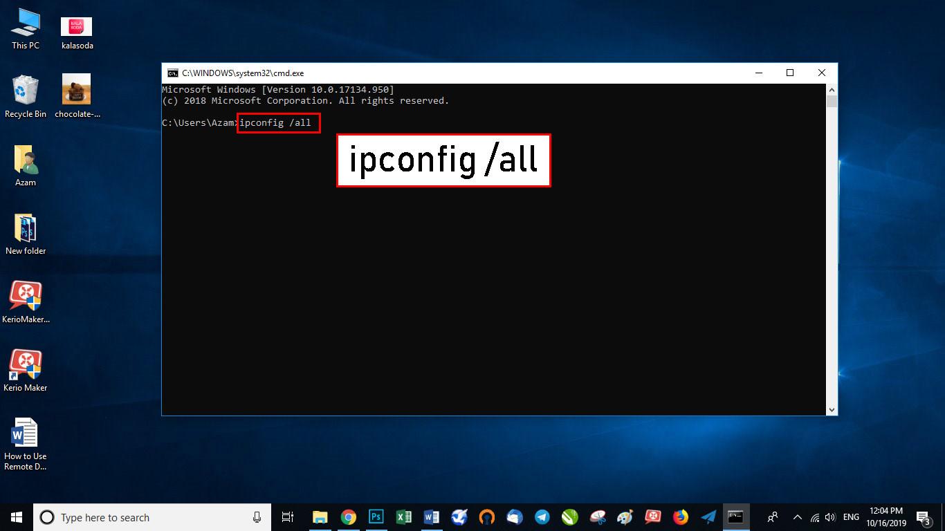 عبارت ipconfig /all را نوشته و اینتر را بزنید.