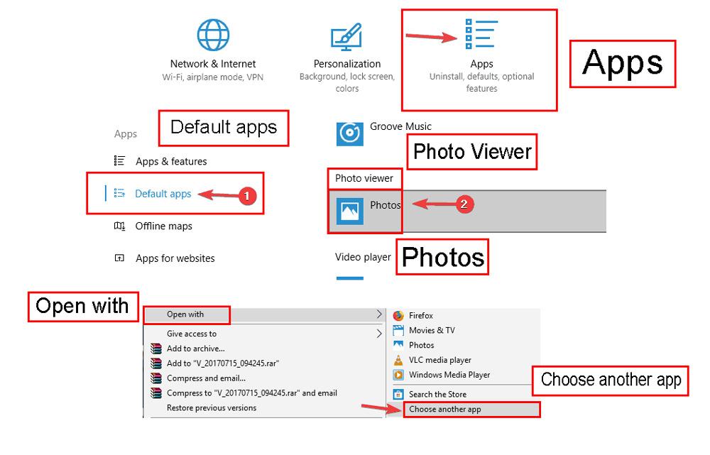 استفاده از Photo Viewer بهعنوان برنامه پیشفرض برای باز کردن عکسها