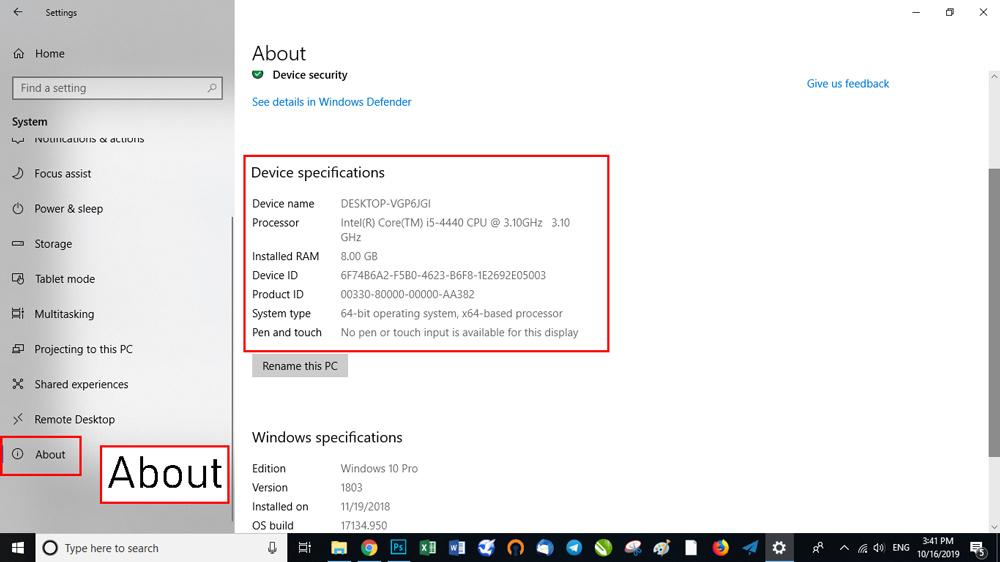 """مستقیماً و با دستور """"ms-settings:about"""" در پنجره RUN عمل کنید."""