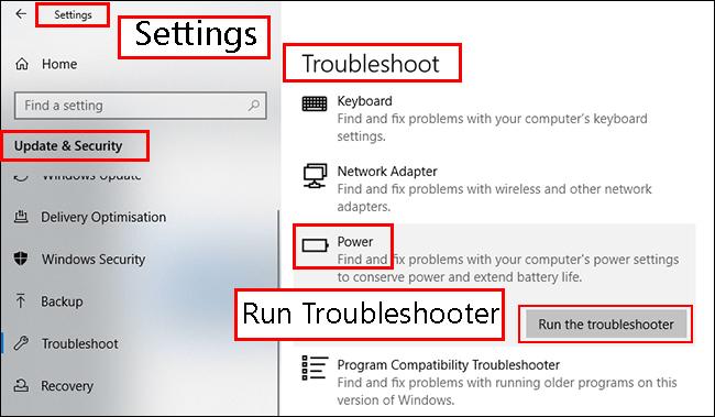 از بخش عیب یابی Power Troubleshooterویندوز 10 استفاده کنید